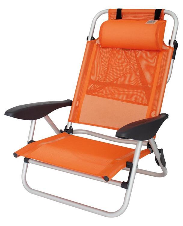 Strandstoel Met Voetenbank.Eurotrail Mallorca Strandstoel Oranje