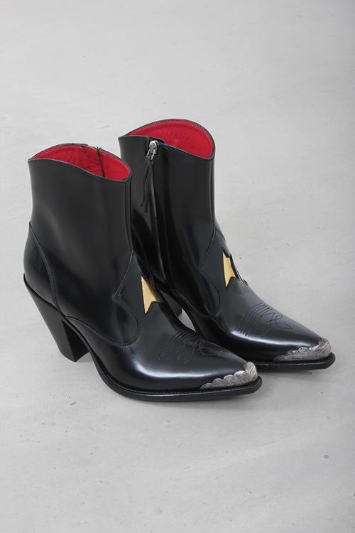 Golden Goose boots nora black shiny leather silver point