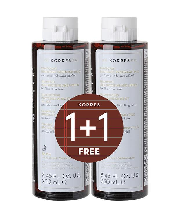 Korres - 1+1 Shampoo Rice Proteins & Linden - 2 x 250 ml