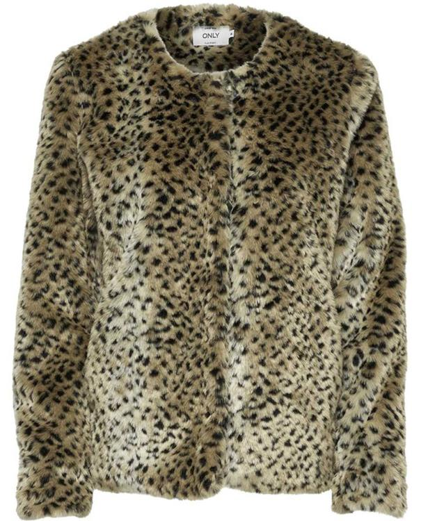 Stuleopard fake fur jacket Black/Leopard