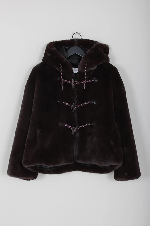 Golden Goose fake fur jacket tsubaki deep brown