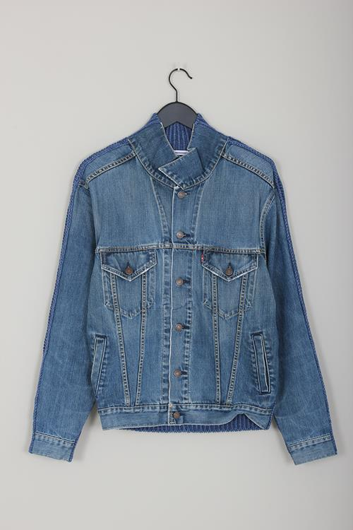 Cristaseya + Bless denim sweater jacket bleached indigo