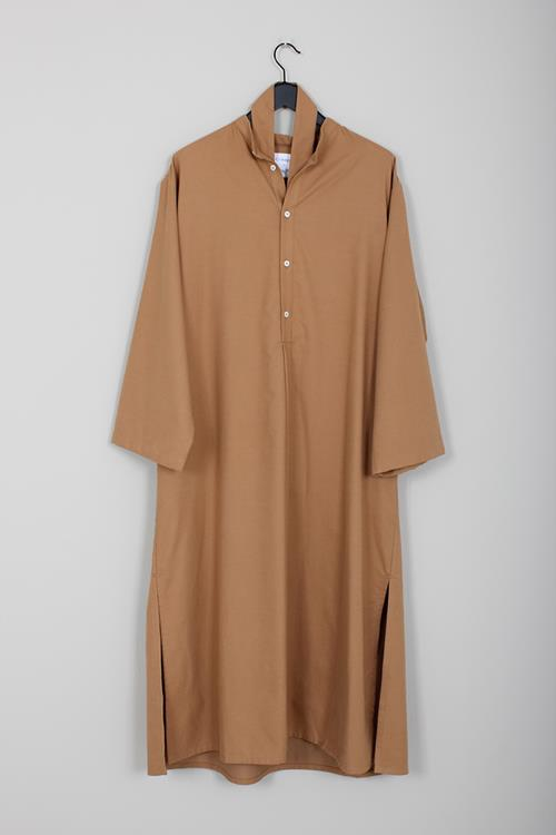 Cristaseya flannel maxi shirt dress camel