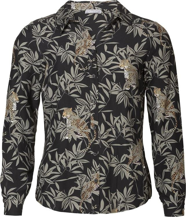 Geisha Blouse AOP Black/grey combi