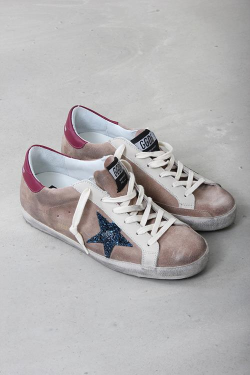 Golden Goose sneaker superstar desert suede blue glitter star