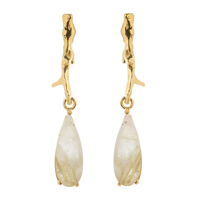 Wouters & Hendrix earrings with branch and rutilated quartz