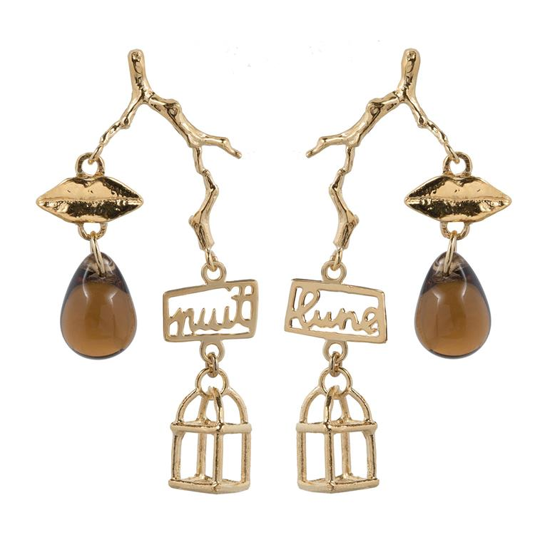 Wouters & Hendrix earrings smoky crystal, lips and cage