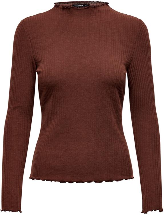 onlemma l/s high neck top cherry mahogany