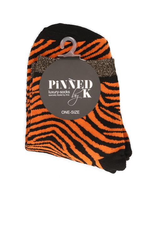 Socks zebra orange