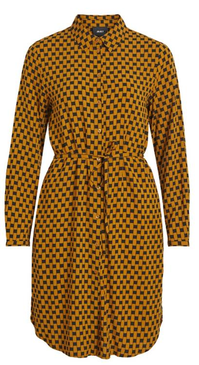 Objdinah l/s bay shirt dress Buckthorn Brown/Black