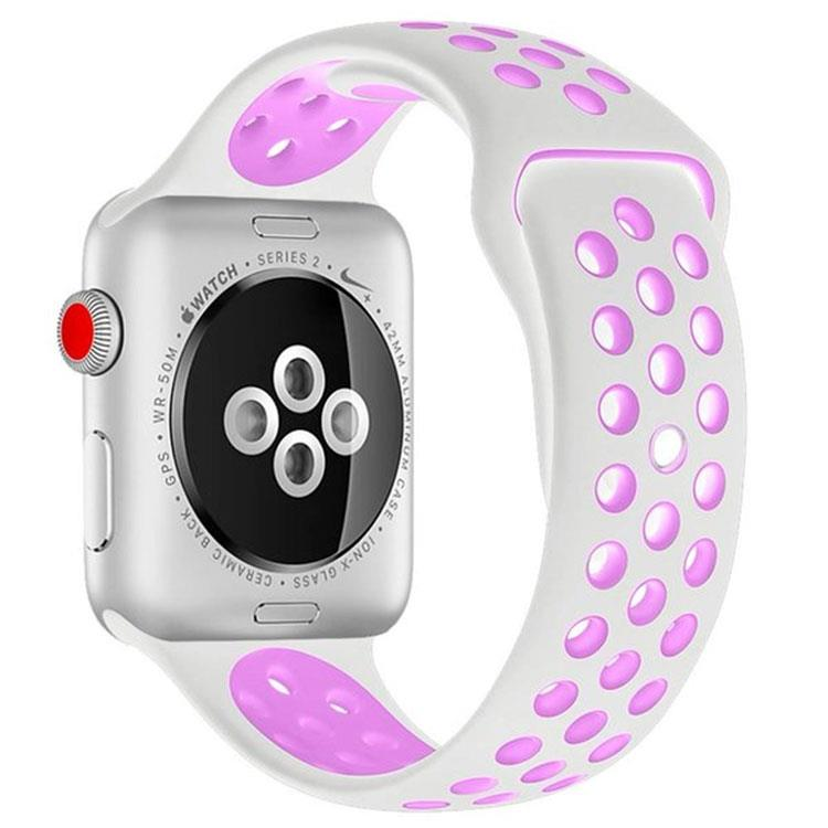 Apple watch sporthorlogeband wit/roze(42mm/44mm)