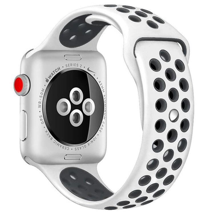 Apple watch sporthorlogeband wit/zwart (42mm/44mm)