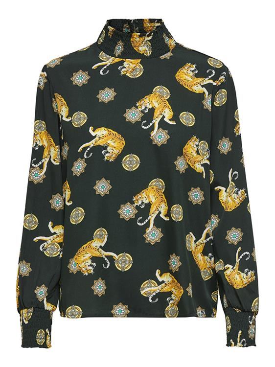 Onlaya l/s smock top wvn Green gables/ w lions