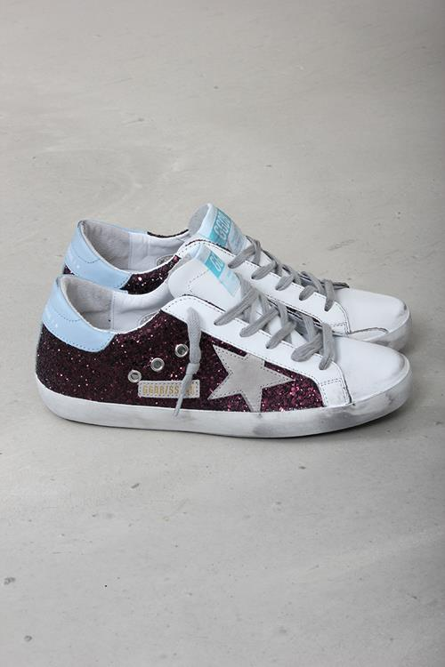Golden Goose sneaker superstar wine glitter cloud suede star