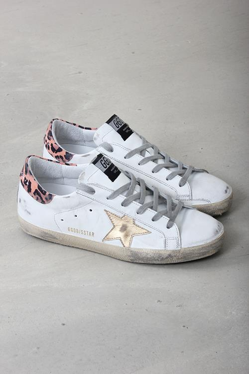Golden Goose sneaker superstar white leather orange leopard
