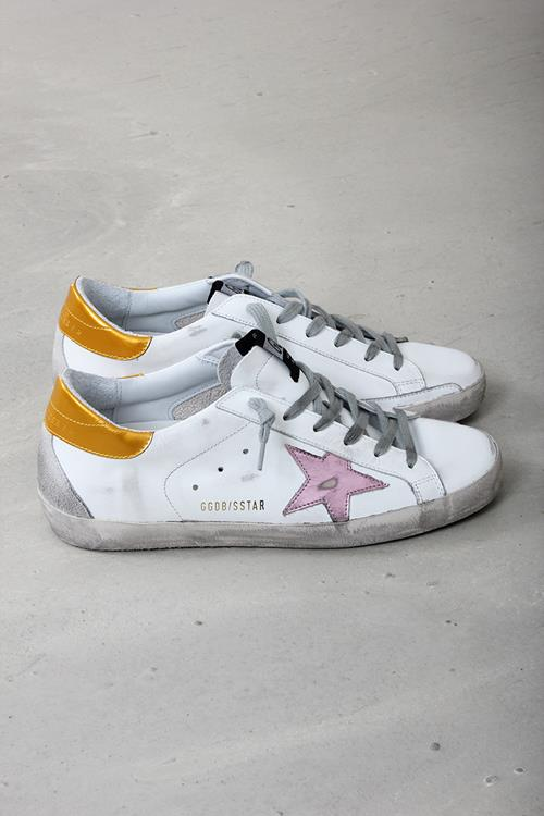 Golden Goose sneaker superstar white leather gold pink metallic star