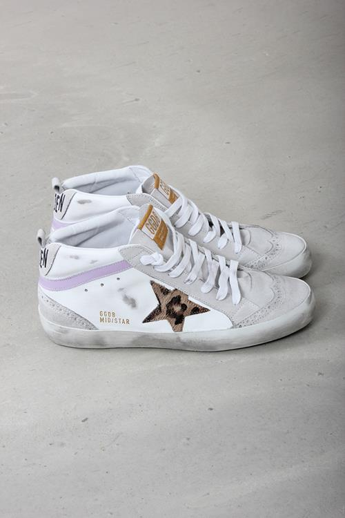 Golden Goose sneaker midstar white leather leopard star