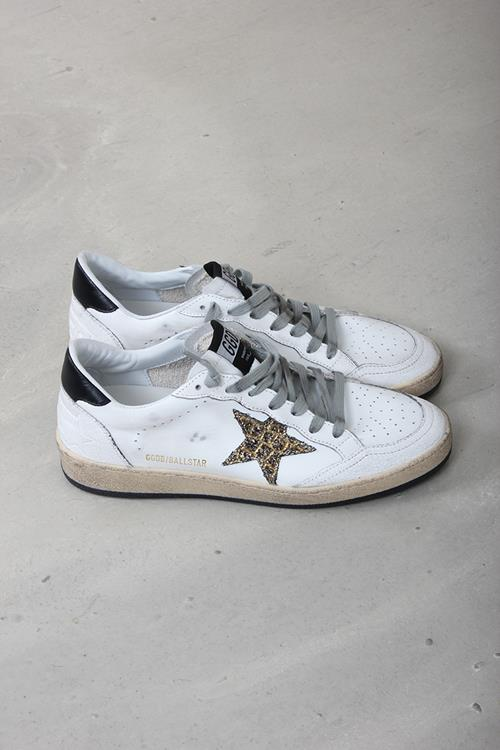 Golden Goose sneaker ballstar white leather cocco glitter star