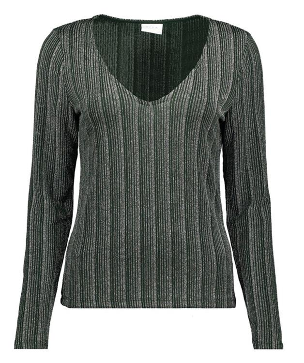 VISUAL V-NECK L/S TOP PINE SOUTH SILVER