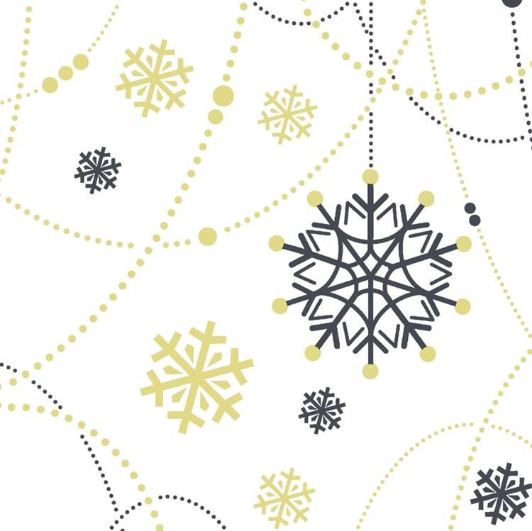 Duni servetten 24x24 cm - snow necklace white