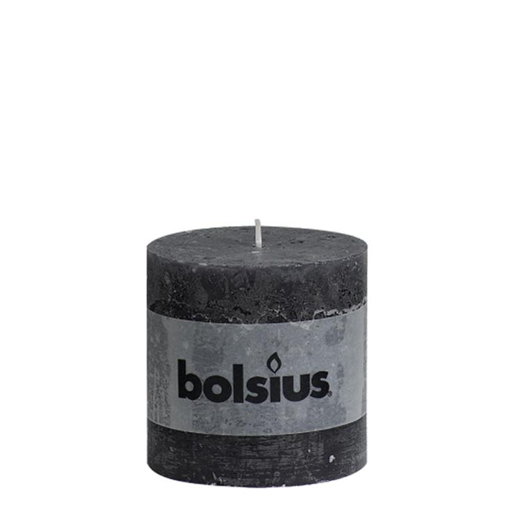Bolsius stompkaars rustiek 10x10 cm - antraciet
