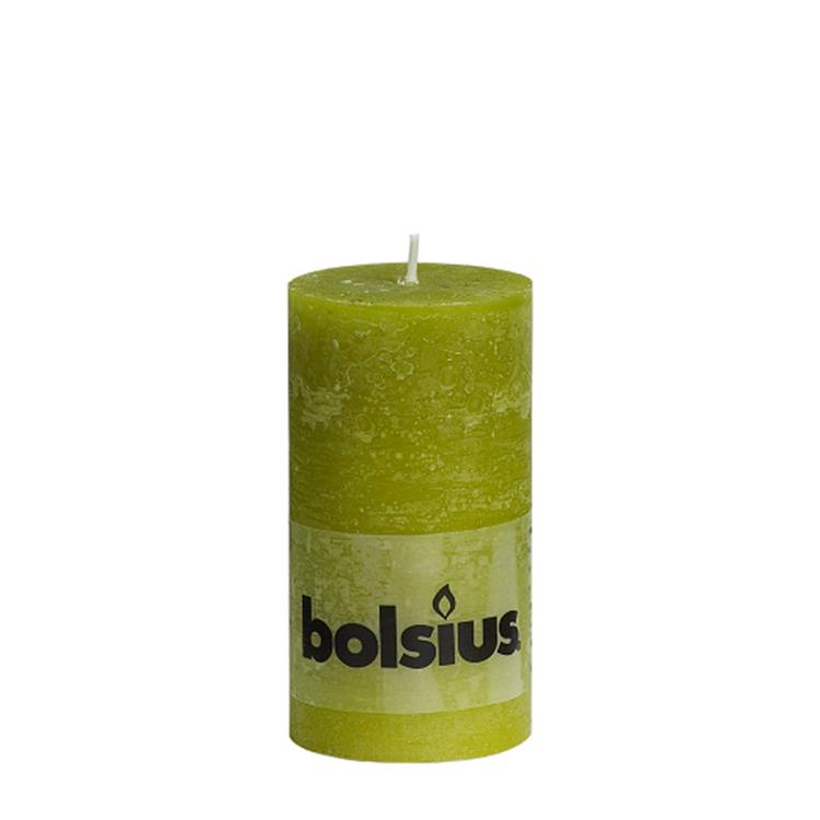 Bolsius stompkaars rustiek 13x6,8 cm - groen