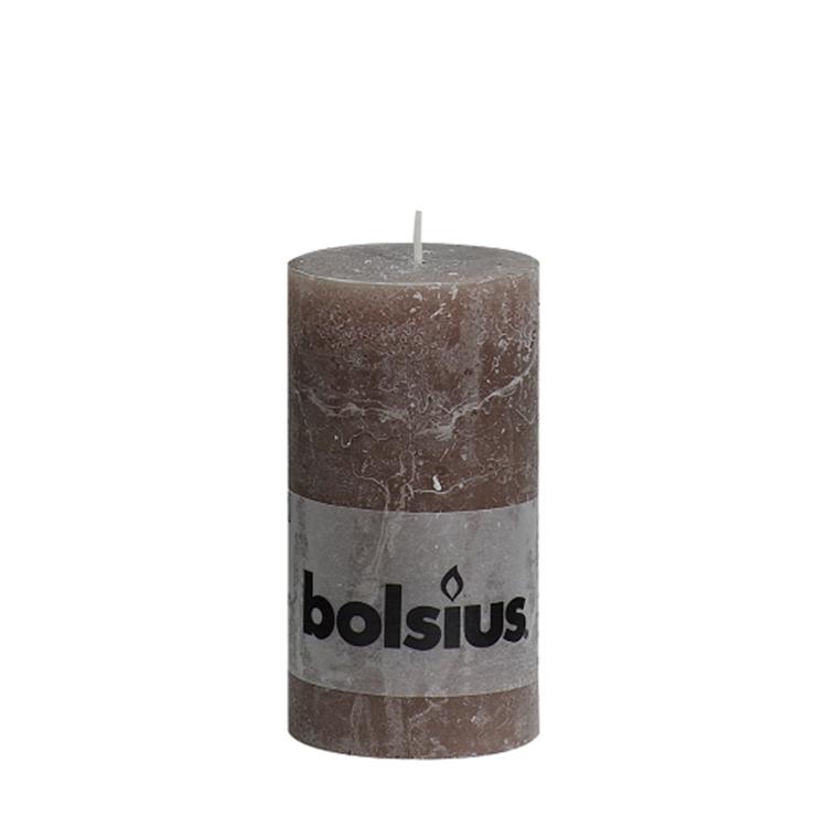 Bolsius stompkaars rustiek 13x6,8 cm - taupe