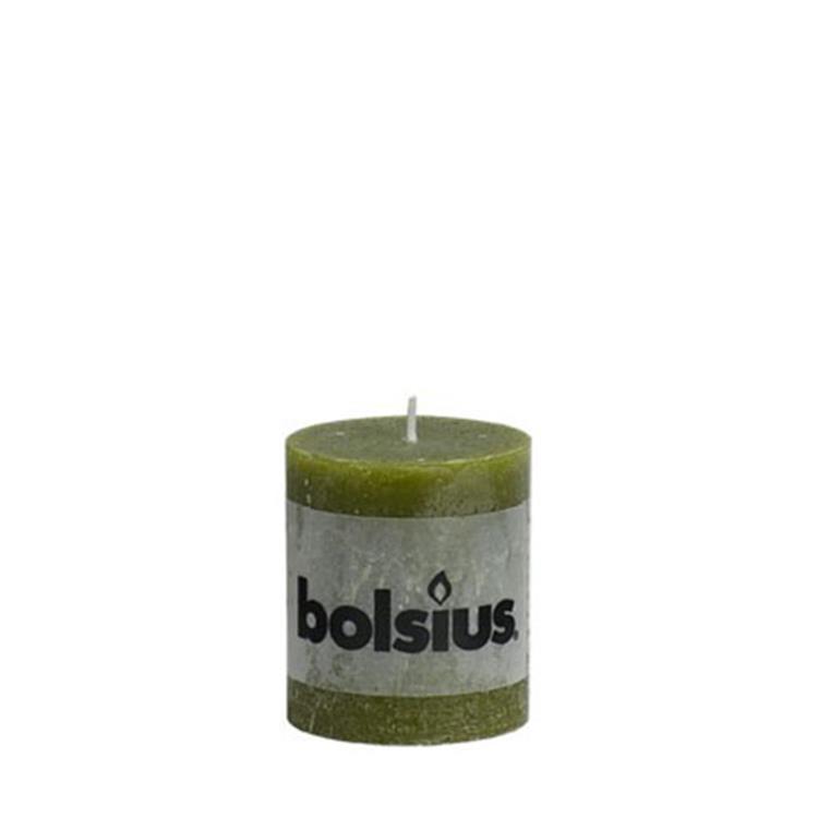 Bolsius stompkaars rustiek 8x6,8 cm - olijfgroen