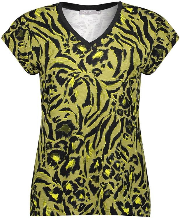 Geisha top aop leopard v-neck s/s Army/yellow combi