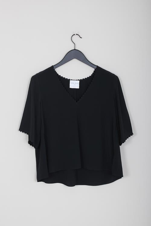 Forte Forte crepe de chine v neck top nero