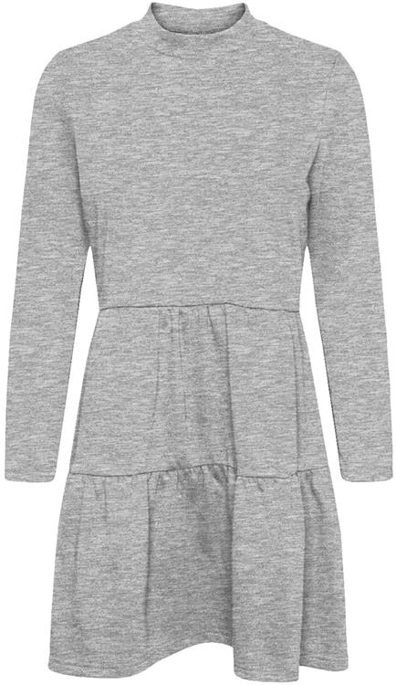 Vmnatalia l/s frill sweat dress Light grey melange
