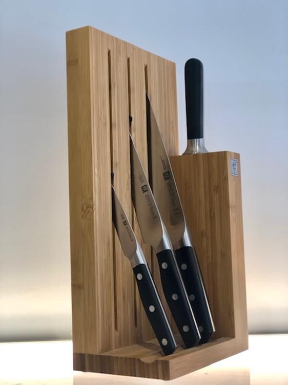 Zwilling messenblok bamboe met 3 messen + aanzetstaal