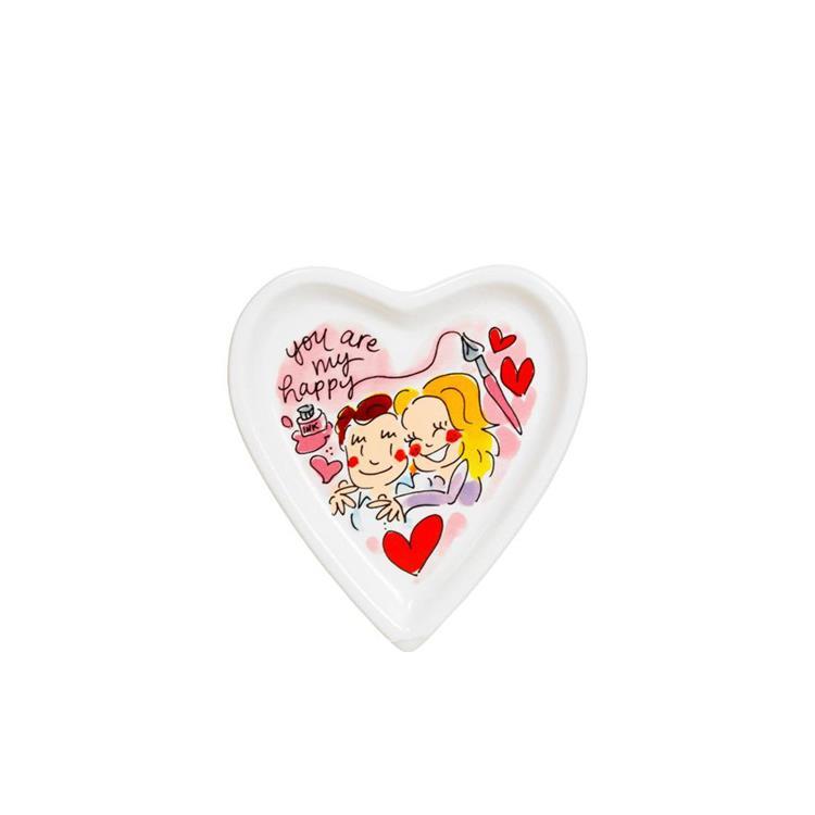 Blond Amsterdam Heart Petit Four bordje Ø12 cm - happy