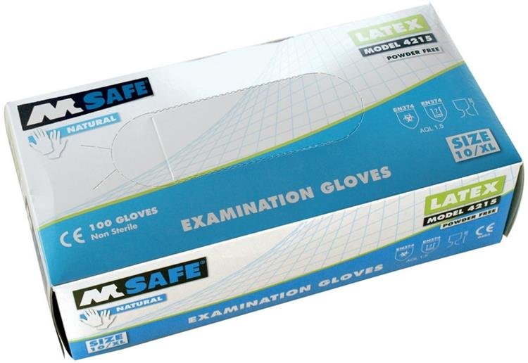 M-SAFE 4215 Disposable Latex handschoenen MAAT 10/ XL 100 st. in doos