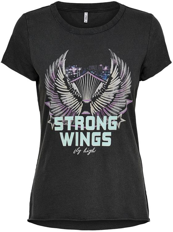 Onllucy life fit s/s Wings top Black/wings