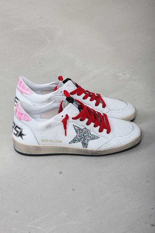 Golden Goose sneaker ballstar white leather pink cocco multi glitter