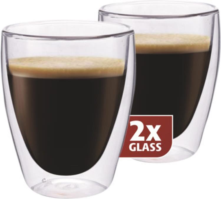 Maxxo thermo glas koffie 235 ml - set van 2