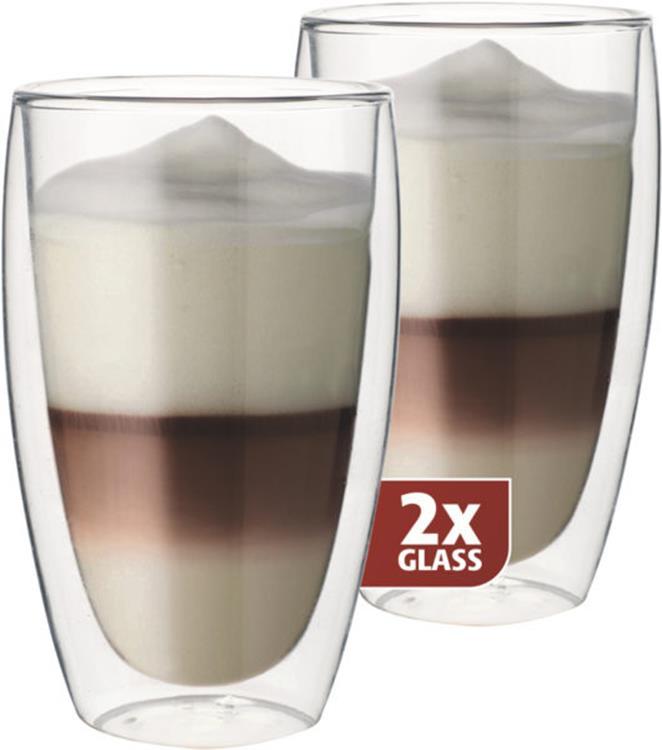 Maxxo thermo glas latte 380 ml - set van 2