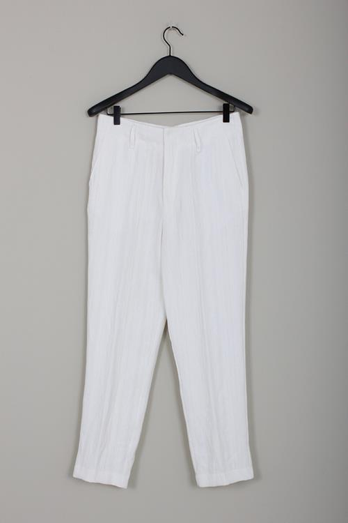 Forte Forte cotton linen herringbone pants bianco