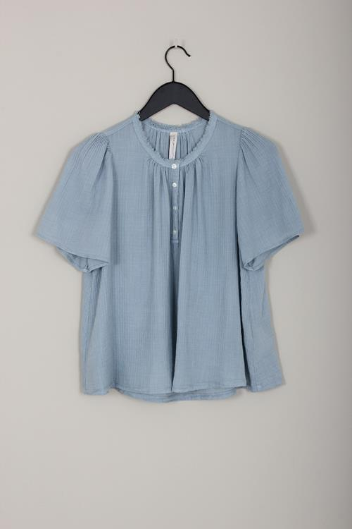 Raquel Allegra flutter blouse dusty blue