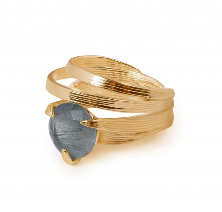 Wouters & Hendrix bamboo leaf ring with tourmaline quartz