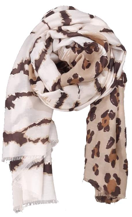B-fashion shawl multicolor beige panther