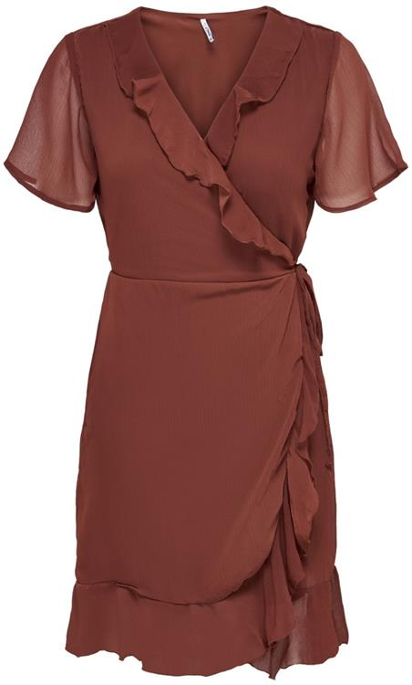 Onlthyme life wrap dress wvn Burnt henna