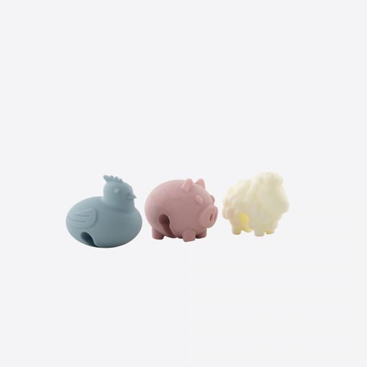 Dotz set van 3 stoomaflaters silicone kip, varken en schaap