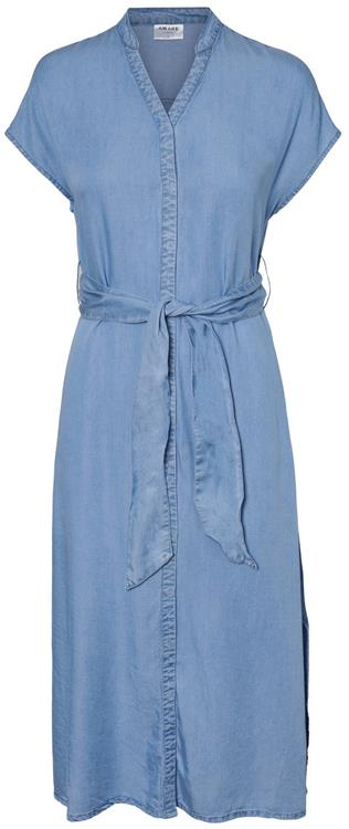 Vmsaga long belt dress vma Light blue denim