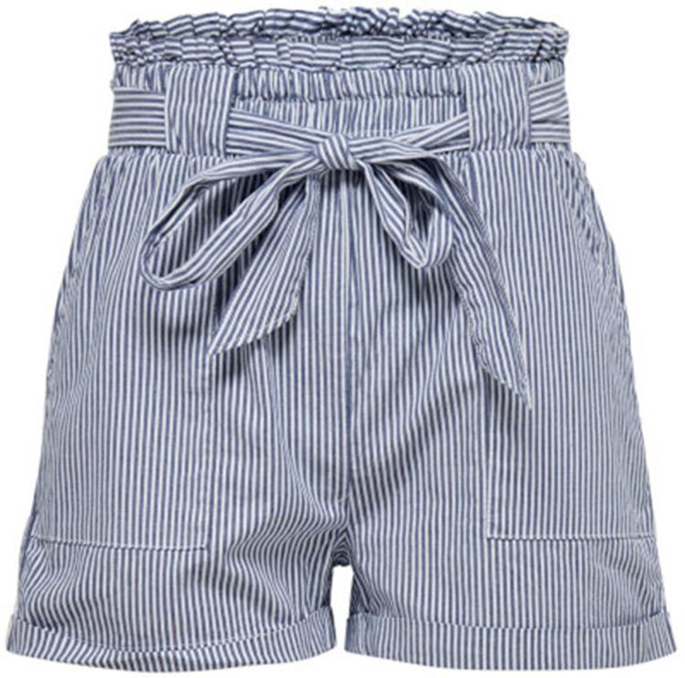 Onlsmilla strip belt dnm shorts noos Medium Blue Den W/Stripes