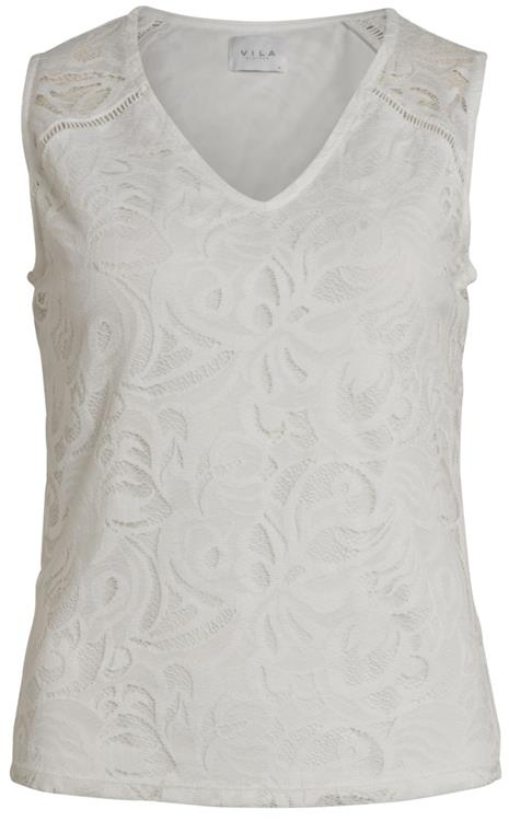 VISTASIA V-NECK LACE S/L TOP Cloud dancer