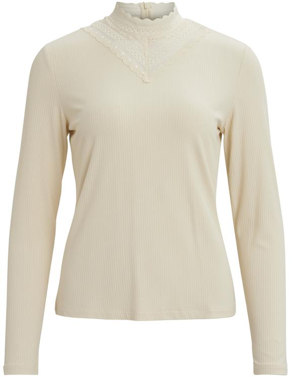 Visollita rib lace l/s top Birch