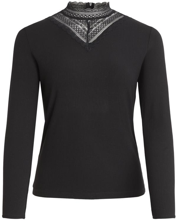 Visollita rib lace l/s top Black