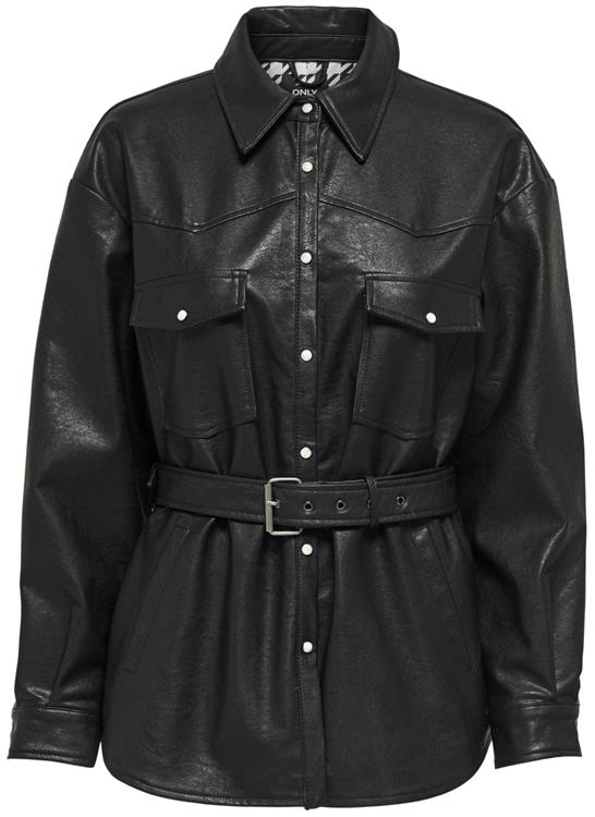 Onlkendra faux leather shacket Black